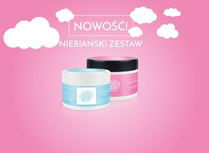 zestaw dwóch kosmetyków w słoiczkach, na różowym tle z białymi chmurami