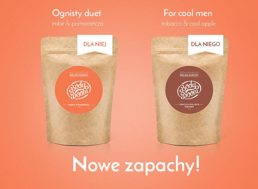 nowe zapachy peelingów kawowych pomarańcza i imbir oraz tobbaco & cool apple