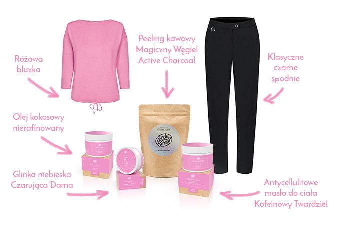 Różowe sweter i czarne spodnie z kosmetykami
